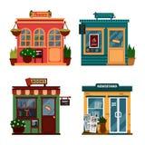 Wektorowa ilustracja budynki które są sklepami dla kupować dekoracje i czasów wolnych akcesoria Set ładni płascy sklepy ilustracja wektor