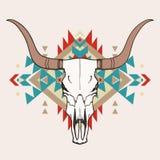 Wektorowa ilustracja byk czaszka z etnicznym ornamentem Zdjęcia Stock