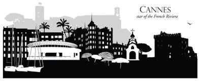 Wektorowa ilustracja Cannes Francja pejzażu miejskiego linia horyzontu Zdjęcia Stock