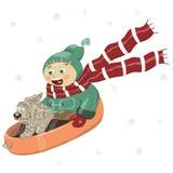 Wektorowa ilustracja chłopiec z psem, jedzie w dół wzgórze na saniu w zim ubraniach, żakiet, spodnia, buty, kapelusz, szalik, mit royalty ilustracja