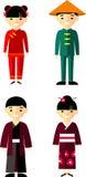 Wektorowa ilustracja chińczyk, japońscy dzieci, chłopiec, dziewczyna Fotografia Stock
