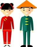 Wektorowa ilustracja chińscy dzieci, chłopiec, dziewczyna, ludzie Obraz Stock