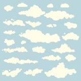 Wektorowa ilustracja chmury kolekci ustalony błękit Obrazy Royalty Free