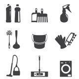 Wektorowa ilustracja cleaning ikony wykłada czerń set Zdjęcie Stock