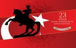 Wektorowa ilustracja cocuk bayrami 23 nisan, przekład: Turecczyzna Kwietnia 23 dzieci i suwerenności Krajowego ` s dzień, grafika ilustracji