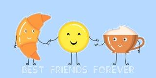 Wektorowa ilustracja croissant, filiżanka, uśmiechnięty żółty emoji Obrazy Royalty Free