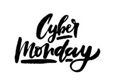 Wektorowa ilustracja Cyber Poniedziałku tekst dla card/sztandaru Ręcznie pisany kaligrafii Cyber Poniedziałku tag/odznaki szablon Obrazy Stock