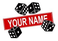 Wektorowa ilustracja czarni kostka do gry na białym tle i szablonie dla imienia firma Zdjęcia Royalty Free