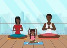 Wektorowa ilustracja czarny afrykanin rodzina medytuje w sprawność fizyczna pokoju na nowożytnym miasta tle ilustracji