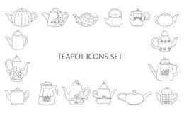 Wektorowa ilustracja czarny i biały teapots ilustracja wektor