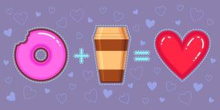 Wektorowa ilustracja czekoladowy pączek z menchiami glazuruje, kawowy i czerwony serce, Zdjęcie Stock