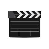 Wektorowa ilustracja czerń filmu clapper odizolowywający na bielu Obrazy Royalty Free