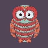 Wektorowa ilustracja dekoracyjna śliczna sowa Obrazy Royalty Free