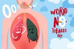 Wektorowa ilustracja dla światu żadny tabaczna dzień kampania, pojęcie d Zdjęcia Royalty Free