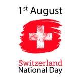 Wektorowa ilustracja dla 1 august Szwajcaria dnia w grunge stylu Projektuje szablonu plakat, sztandar, flayer, powitanie Zdjęcie Stock