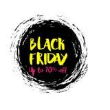 Wektorowa ilustracja dla Black Friday w grunge stylu Atramentu pluśnięcia pojęcie Projektuje szablon dla plakata, sztandar, flaye Zdjęcia Royalty Free
