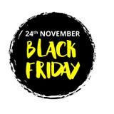 Wektorowa ilustracja dla Black Friday w grunge stylu Atramentu pluśnięcia pojęcie Projektuje szablon dla plakata, sztandar, flaye Obrazy Royalty Free