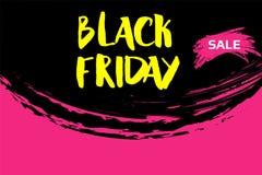 Wektorowa ilustracja dla Black Friday w grunge stylu Atramentu pluśnięcia pojęcie Projektuje szablon dla plakata, sztandar, flaye Zdjęcie Royalty Free