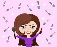 Wektorowa ilustracja dla kosmetycznego projekta Makijażu artysty przedmioty Piękno styl Piękna blogger Uzupełniał tło Zdjęcia Stock