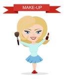 Wektorowa ilustracja dla kosmetycznego projekta Makijażu artysty przedmioty Piękno styl Piękna blogger Uzupełniał tło Fotografia Royalty Free