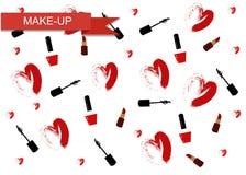 Wektorowa ilustracja dla kosmetycznego projekta Makijażu artysty przedmioty Piękno styl Piękna blogger Uzupełniał tło Obrazy Stock