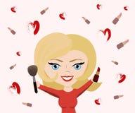 Wektorowa ilustracja dla kosmetycznego projekta Makijażu artysty przedmioty Piękno styl Piękna blogger Uzupełniał tło Obraz Royalty Free