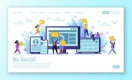 Wektorowa ilustracja dla mobilnego strona internetowa rozwoju i strona internetowa projekta Mężczyzny i kobiety charaktery gawędz royalty ilustracja