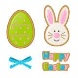Wektorowa ilustracja dla Wielkanocnego wakacje Set tradycyjni ornamenty: jajka, królik, ciastka, łęk Może używać ilustracja wektor