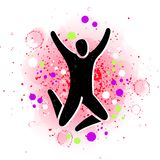 Wektorowa ilustracja doskakiwań ludzie Mężczyzna kobiety dzieciaka sylwetka Ciało postaci ikony znak Trampoline parkowy pojęcie ilustracja wektor