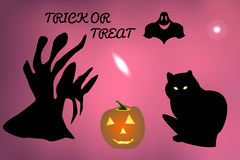 Wektorowa ilustracja duch wokoło i nietoperza latanie, czarnego kota czekanie dla Halloweenowego wakacje Zdjęcia Stock