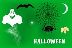 Wektorowa ilustracja duch wokoło i nietoperza latanie, czarnego kota czekanie dla Halloweenowego wakacje Obraz Stock
