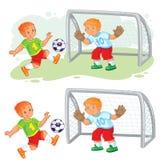 Wektorowa ilustracja dwa chłopiec bawić się piłkę nożną royalty ilustracja