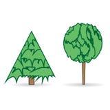Wektorowa ilustracja dwa drzewa Obraz Royalty Free