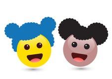 Wektorowa ilustracja dwa smiley brązu i koloru żółtego dziewczyny śliczny emo Fotografia Royalty Free