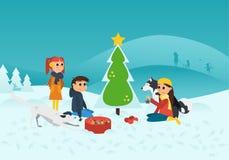 Wektorowa ilustracja: Dzieci Dekoruje Chrismas drzewa w Śnieżnym krajobrazie z psami royalty ilustracja