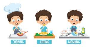 Wektorowa ilustracja dzieciaka kucharstwo, łasowanie I domycie naczynia, royalty ilustracja
