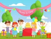 Wektorowa ilustracja dzieciaka przyj?cie urodzinowe na podw?rza tle z ?miesznymi przyjaci??mi, szcz??liwa dziecko firma ch?opiec ilustracja wektor