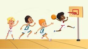 Wektorowa ilustracja dzieciaki Bawić się koszykówkę Drużynowa Bawić się gra Drużynowa rywalizacja ilustracji