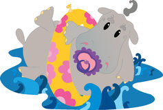 Dziecko hipopotam w wodzie Zdjęcia Royalty Free