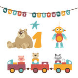 Wektorowa ilustracja - dziecko zabawki, girlanda Obrazy Royalty Free