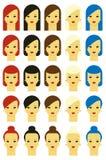 Wektorowa ilustracja dziewczyny z różnorodnymi włosianymi stylami Obraz Royalty Free