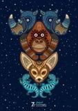 Wektorowa ilustracja dziki totemu zwierzę nosorożec Obrazy Royalty Free