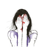Wektorowa ilustracja Żeńska żywy trup dziewczyna z krwionośnym obcieknięciem od jej usta Obrazy Stock