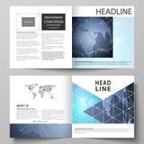 Wektorowa ilustracja editable układ dwa pokrywa szablonu dla kwadratowej projekta bi fałdu broszurki, magazyn ilustracja wektor