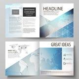 Wektorowa ilustracja editable układ dwa pokrywa szablonu dla kwadratowej projekta bi fałdu broszurki, magazyn, ulotka ilustracja wektor