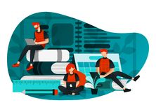 Wektorowa ilustracja edukacja 4 (0), uczący się przemysł rewolucję przy internetem, nauka grupa ludzi studiowanie używać laptop,  ilustracji
