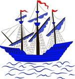 Wektorowa ilustracja żeglowanie statek Zdjęcie Stock