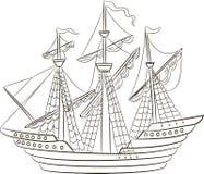 Wektorowa ilustracja żeglowanie statek Zdjęcia Royalty Free
