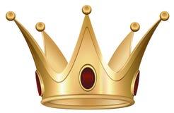 Złota Królewska korona z rubinem Zdjęcia Royalty Free