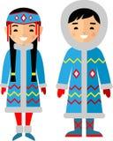 Wektorowa ilustracja eskimo dzieci, chłopiec, dziewczyna, ludzie Obrazy Stock